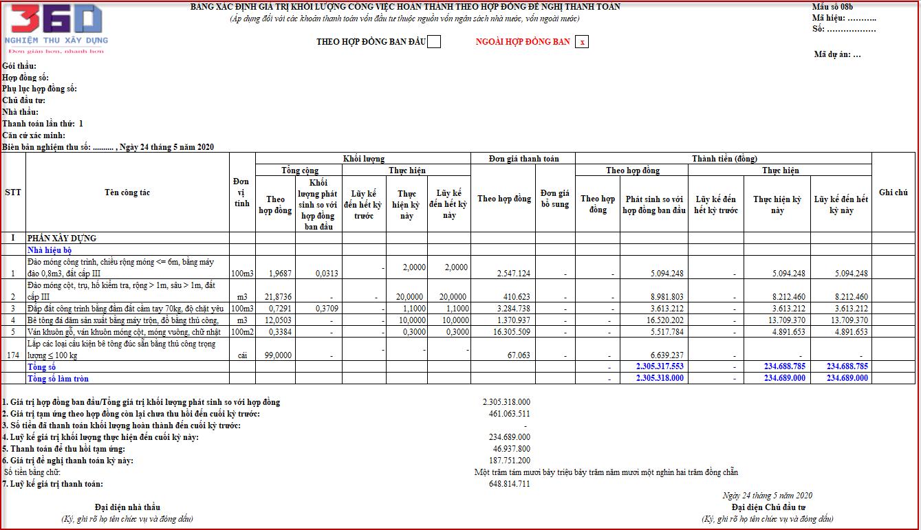 Hướng dẫn xác định giá trị theo biểu mẫu thanh toán 8b Nghị định 11.2020.NĐ-CP