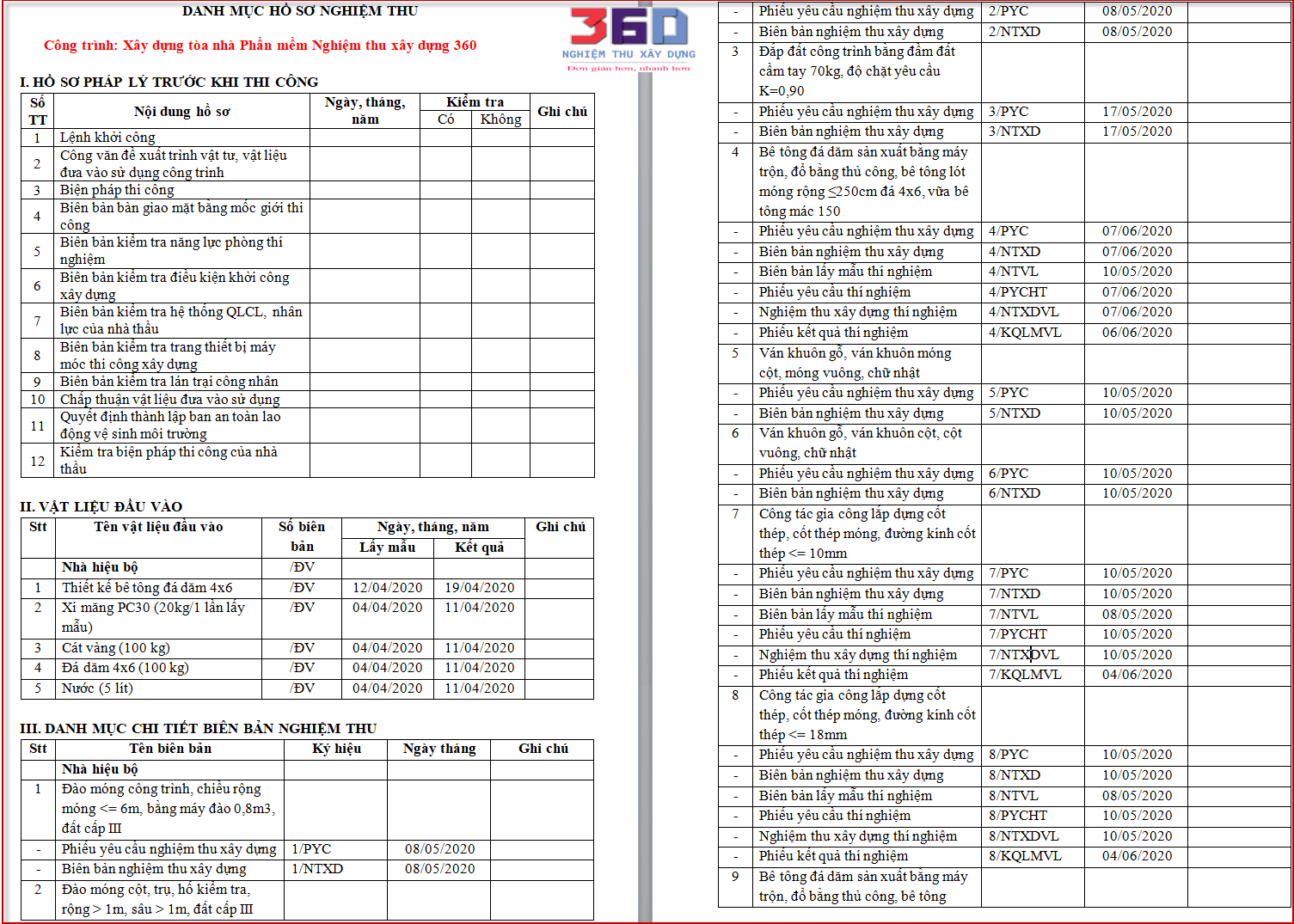 List hồ sơ nghiệm thu hòa công quyết toán