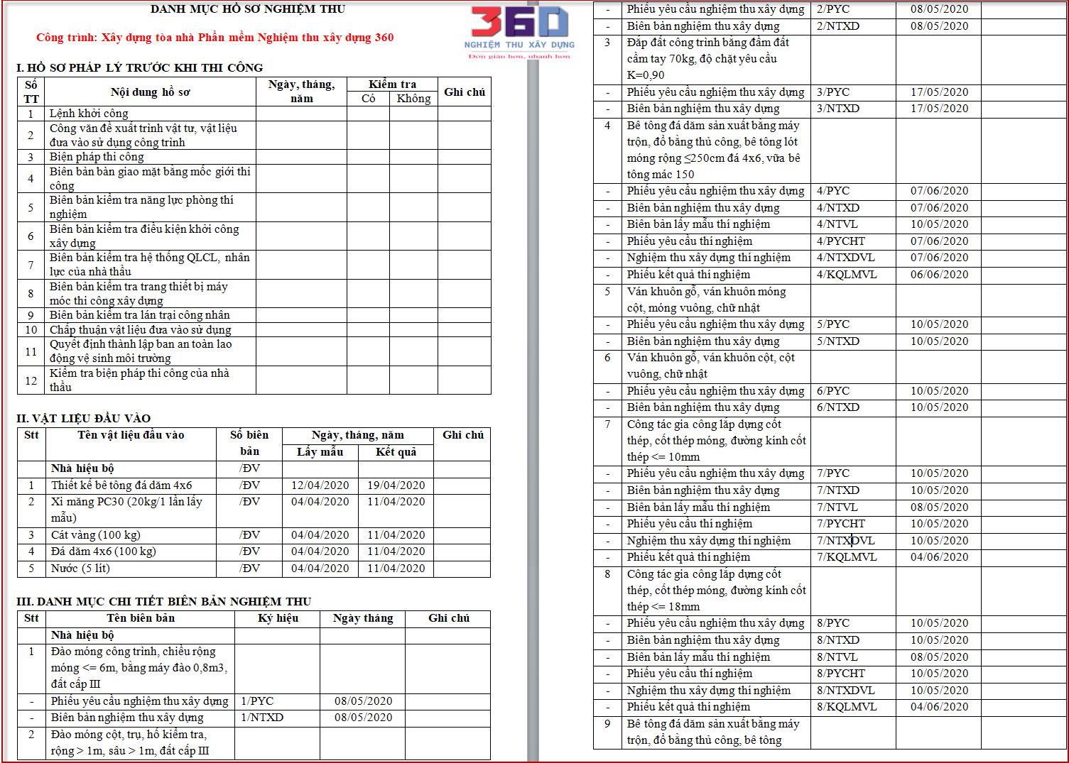List danh mục hồ sơ nghiệm thu theo 8b 2020