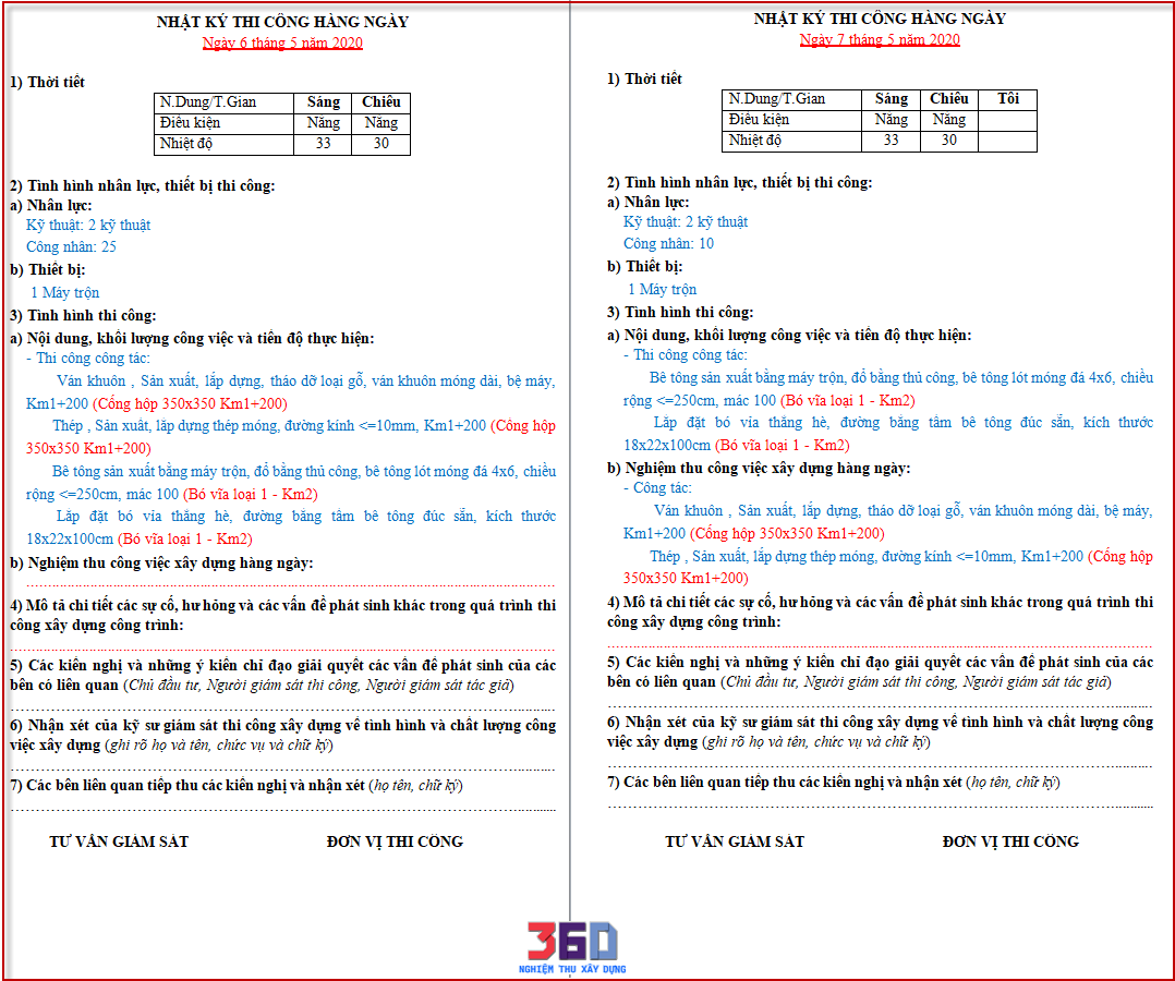 Mẫu nhật ký theo Thông tư 26/2016/BXD