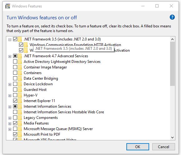 Cách kích hoạt .Net Framework 3.5 trên windows7 và windows10
