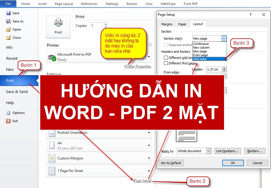 Cách in 2 mặt word và PDF offce 2007, 2010, 2013 và 2016