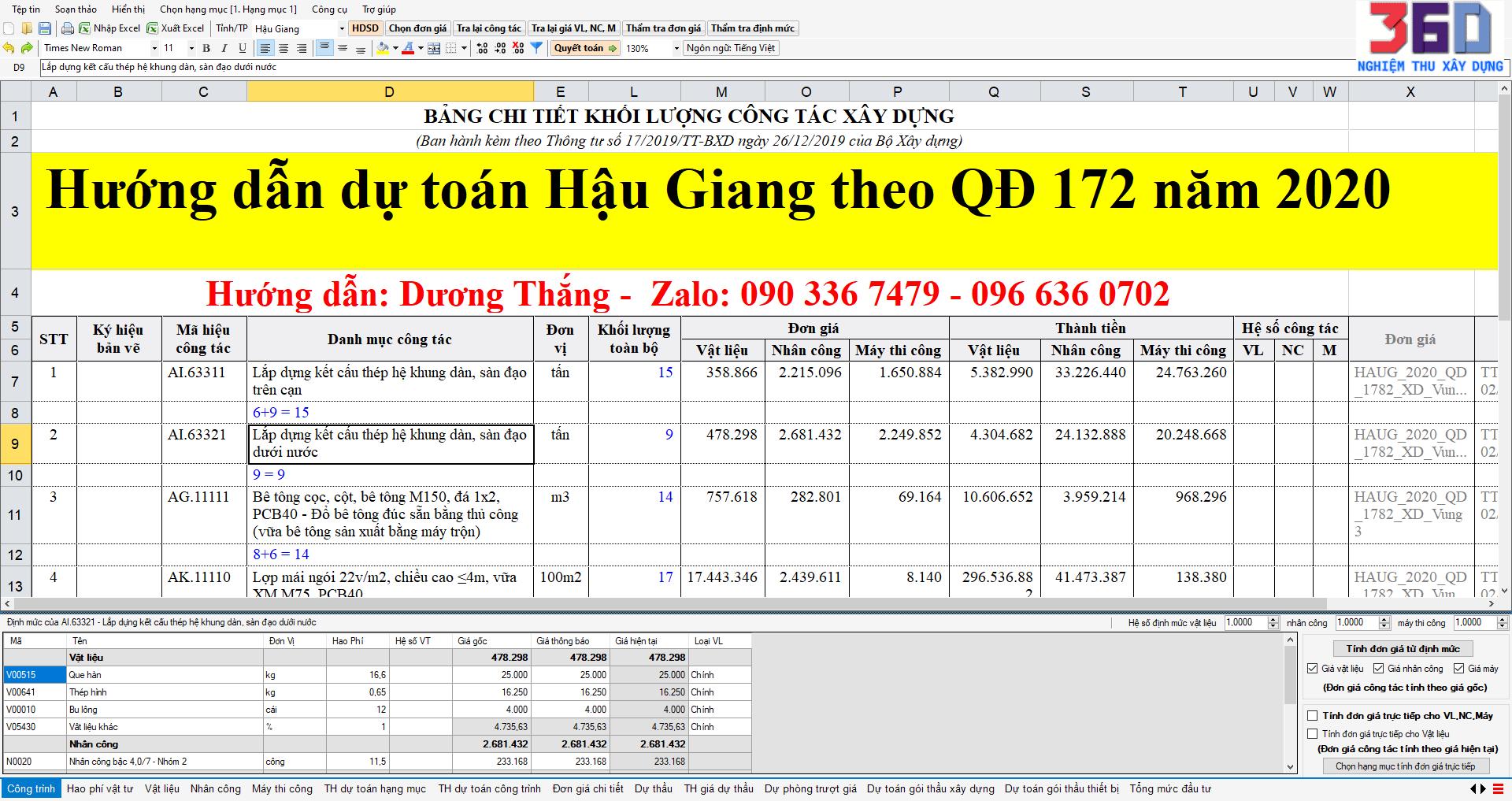 Hướng dẫn dự toán Hậu Giang theo quyết định số 172/QĐ-SXD ngày 22/12/2020 [Dương Thắng]
