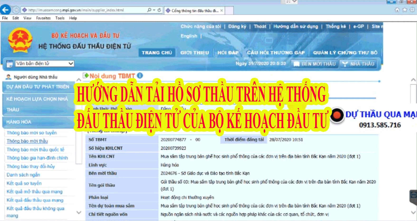 HƯỚNG DẪN TẢI HỒ SƠ THẦU TRÊN HỆ THỐNG ĐẤU THẦU ĐIỆN TỬ CỦA BỘ KẾ HOẠCH ĐẦU TƯ VỀ MÁY (Hoàng Tuấn)
