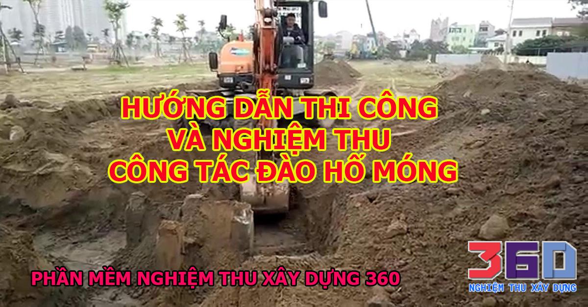 Hướng dẫn thi công và nghiệm thu công tác đào hố móng